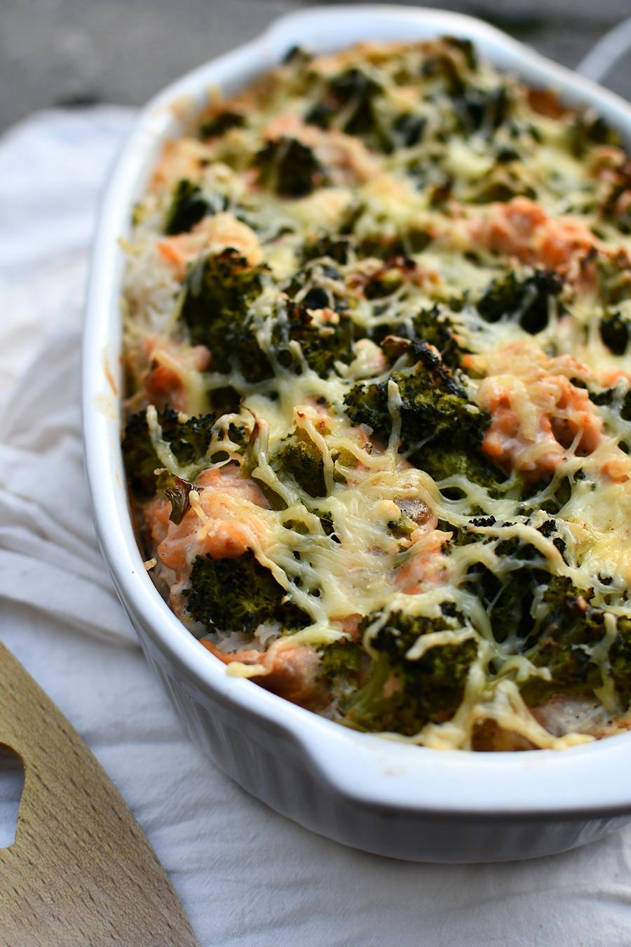 Brokkoli - Reis - Auflauf mit Lachs