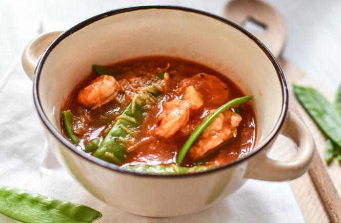 WW Rezept: Tomaten-Gemüse-Suppe mit Garnelen